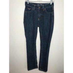 kimes ranch betty jean 0/34 dark wash straight leg
